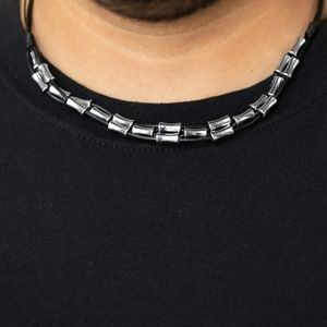 Black and silver urban mens necklace